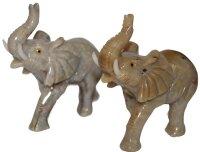 Gravur Elefanten aus Speckstein, ca. 7,5 x 8 cm