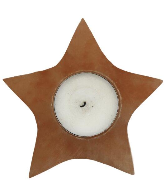 Teelicht Selenit Stern, orange