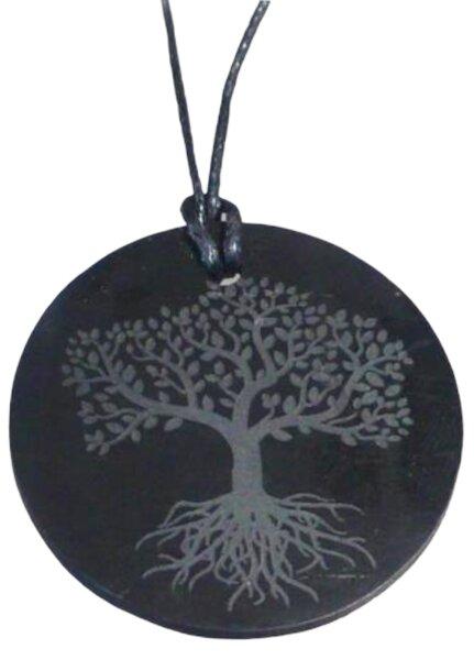 Anhänger Schungit rund, incl. Band und Gravur Baum des Lebens