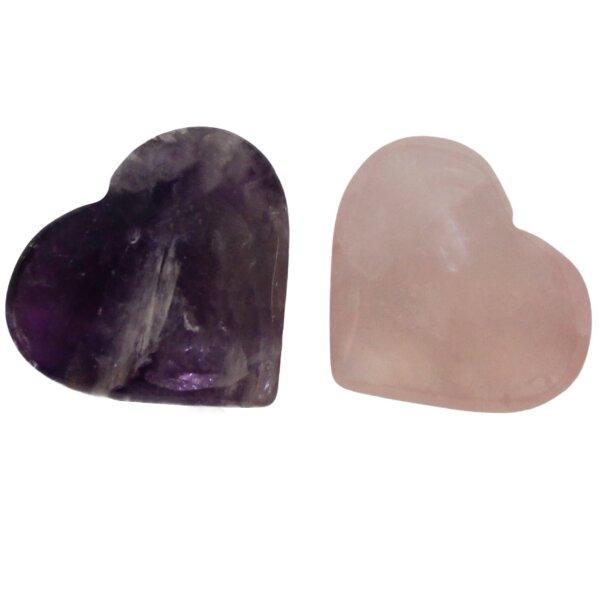 Herzen Amethyst und Rosenquarz, klein, 2er Set