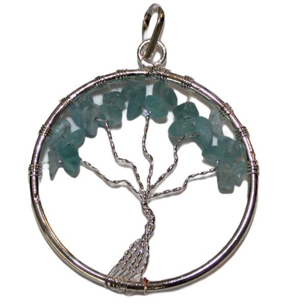 Anhänger Baum des Lebens mit Aquamarin