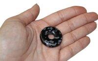 Edelstein Donut Schneeflocken-Obsidian, 30 mm