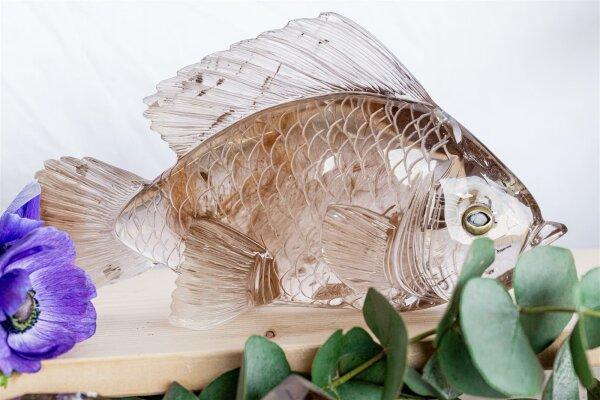 Gravur Fisch aus Rauchquarz mit Rutil Einschlüsse