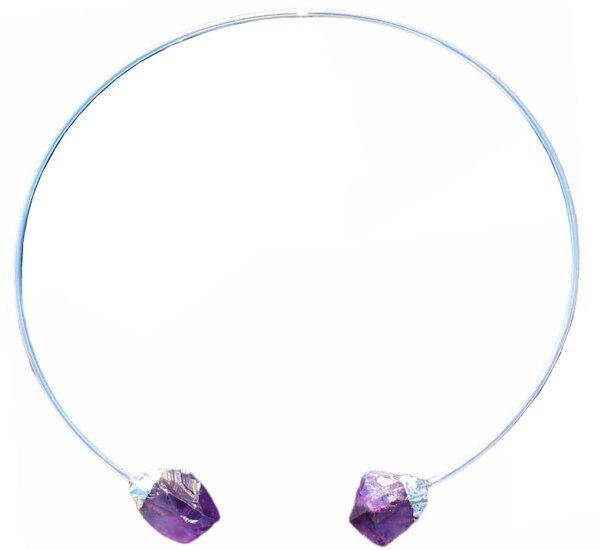 Halsspange Silber galvanisiert mit Amethyst Spitze