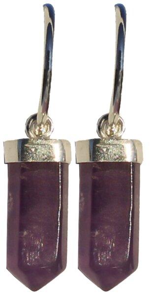 Ohrhänger Creolenform 925er Silber mit Amethyst Spitze