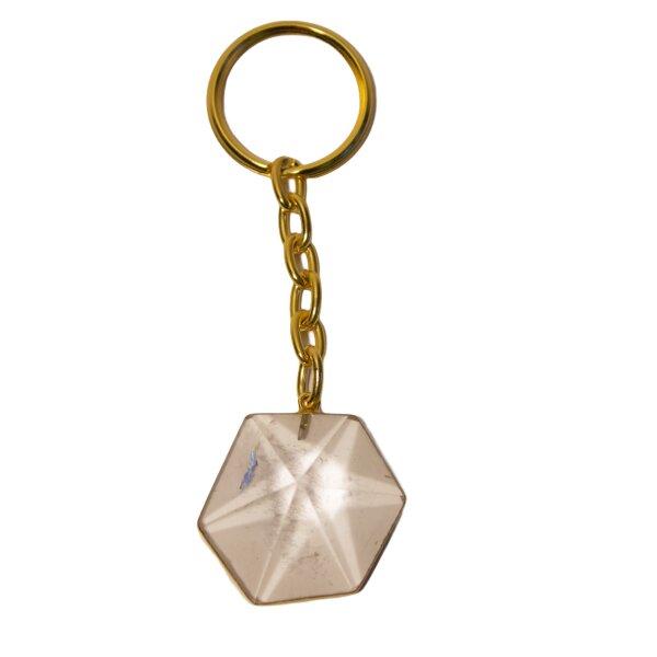 Schlüsselangänger Sechseck Pyramide Bergkristall goldf.