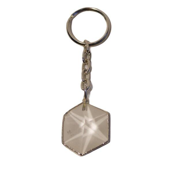 Schlüsselanhänger Sechseck Pyramide Bergkristall  silberf.