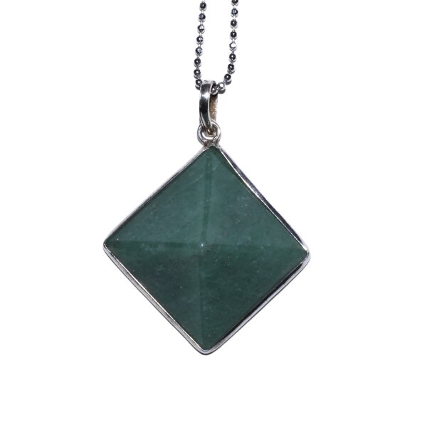 Anhänger Pyramide grüner Aventurin, 925er Silber gefasst