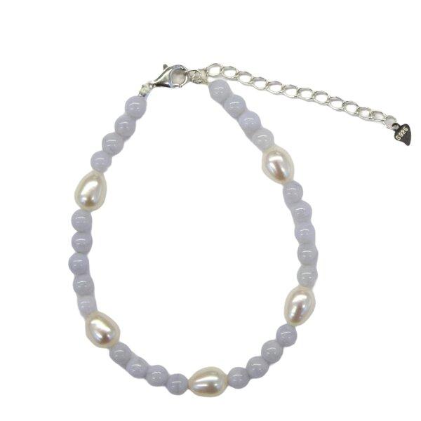 Armband Calcedon Kugel mit Perlen