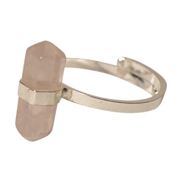 Ring Rosenquarz Doppelspitze , 925er Silber