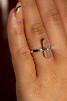 Ring Rosenquarz Doppelspitze , Silber