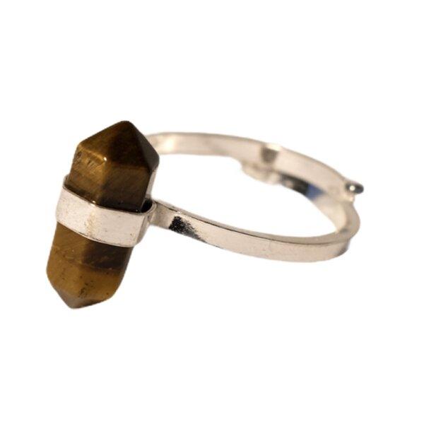 Ring Tigerauge Doppelspitze, Silber