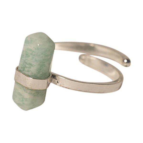 Ring Amazonit Doppelspitze, Silber