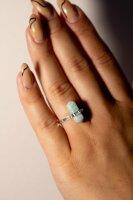 Ring Amazonit Doppelspitze, 925er Silber