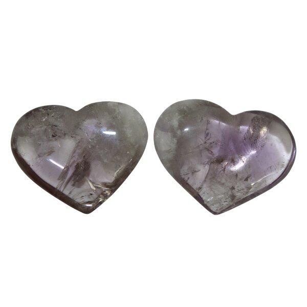 Herzen Amethyst, 2er Set, leicht lila