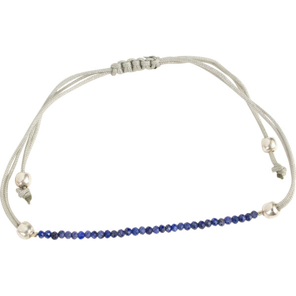 Pullstring Armband Lapis Lazuli 2 mm, facettiert